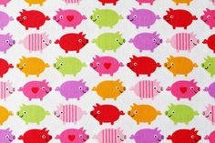 Half Yard - Colorful cute pigs - Japanese fabric