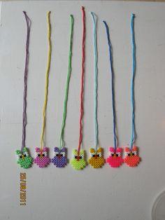 Owls hama beads necklace - perles à repasser : http://www.creactivites.com/229-perles-a-repasser