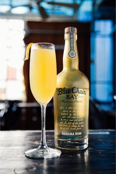 Tropical Mimosa- Muddled strawberry in shaker 1 oz. Blue Chair Bay Banana Rum Splash of orange juice Strain into a flute,  Top with champagne