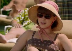 Would love a whole summer bathing ensemble like Coletter here. Pan Am, Great Movies, Movie Tv, Bathing, Tv Series, Bucket Hat, Costumes, Lady, Summer