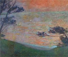 Sunset at Sea - Henri Martin (French, 1860–1943) - lovely feeling of warmth in this painting