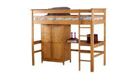 Cotswold Cabin Bed high sleeper Antique Pine inc Wardrobe & Desk
