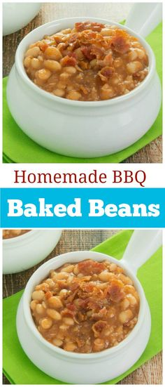 A  Homemade BBQ Baked Beans recipe that is absolutely delicious. Goodbye canned baked beans!