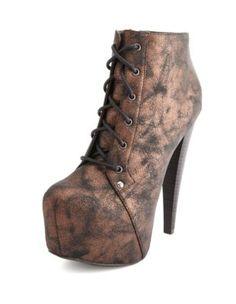 metallic lace-up heel bootie