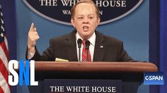 Sean Spicer Returns. Sean Spicer (Melissa McCarthy) confronts President Donald Trump (Alec Baldwin) about the rumors that he's being replaced by Sarah Huckabee Sanders (Aidy Bryant). - SNL