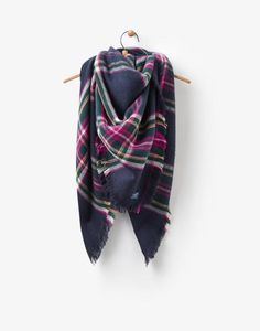 Heyford French Navy Check Scarf , Size One Size | Joules UK