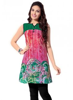 Charismatic Green and Hot Pink Georgette Trendy Kurti