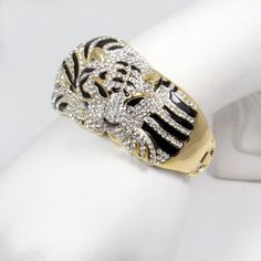 New-18K-Gold-GP-Chunky-Animal-Tiger-Bracelet-Bangle-Cuff-Clear-Austrian-Crystal
