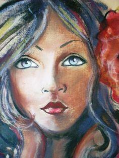 """Dam Domido """"""""Portrait rétro, peinture art déco expressioniste :  Rêveuse à temps plein......"""
