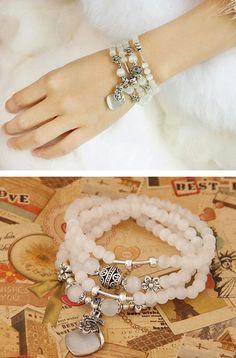 Preppy Beige Beads Decorated Purse Shape Multilayer Design Alloy Fashion Bracelets ,Fashion Bracelets