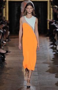 Bright Orange Organza Julienne Dress, Plexi Wedge Summer 2013 Look 2