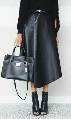 Idea to style my WhoWhatWear faux leather skirt with my Ash peep toe booties