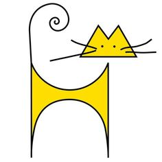 Gatos minimalist yellow cat