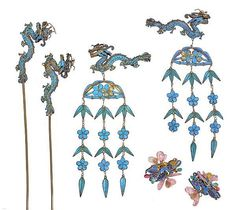 4- early 20th c.  Chinese kingfisher feather and hardstone Hairpins decorated w/ Filigree metalwork motifs of; dragons, flowers, leaves. & chimes