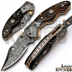 Knives Exporter New Custom made Damascus Steel Folding Knife Horn Handle KE-F74 #KnivesExporter
