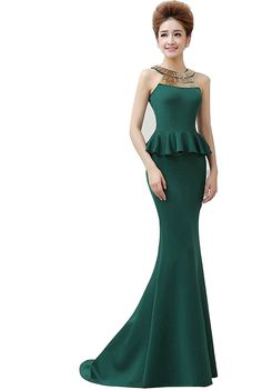Annie's Bridal Women's High Neck Metal Decoration Mermaid dress Evening Prom Dress Gowns