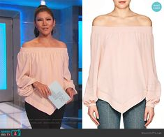 Julie Chen Fashion on Big Brother Off Shoulder Tops, Off Shoulder Blouse, Big Brother Style, Julie Chen, Silk Crepe, Fashion Outfits, My Style, Clothing, Pink