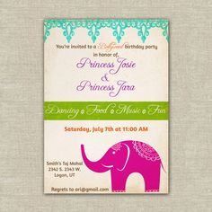 Party invites.  25 Bollywood themed birthday party invitations, girls, Indian, India, elephant, princess, bright, magenta, purple, chartreuse, summer,. $37.50, via Etsy.
