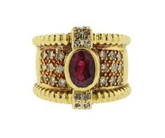 18K Gold Diamond Red Stone Wide Band Ring Featured in our upcoming auction on July 11th!