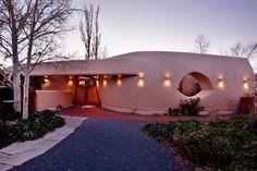 Frank Llyod Wright Houses: Exterior of the Pottery House, Santa Fe, at dusk, photo courtesy David Fries Santa Fe Properties