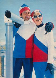 Vintage ski style. 1960s.