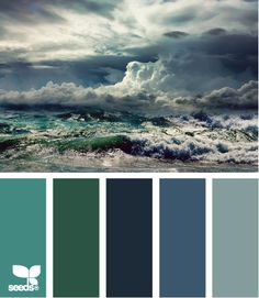 Storming hues - wonderful blue-grays, an indescribable spruce-green-blue, and a hint of muted turquoise-gray - a wonderful mix that only needs one contrast.