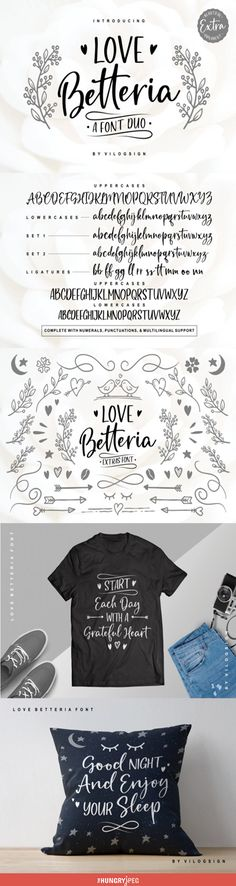 "Introducing ""Love Betteria"" a Playful and Calligraphy Font Duo! A typeface script font with 2 set lowercase letters alternatives and 10 ligatures to complete your needs.  This font comes with multilingual support. With built in Opentype features, this script comes to life as if you are writing it yourself.  Extra cute ornaments to complete your need :)  This font is lovely, cute, natural, modern, classic and elegant, very suitablefor branding, magazine, fashion, quotes, logo, packaging, and…"