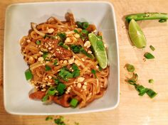 {Chicken Pad Thai} Holy. Moly. This was SO good. Everyone loved it! Didn't add the green onions and we didn't have fresh cilantro, but other than that everything was the same. Absolutely wonderful!