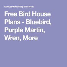 Free Bird House Plans - Bluebird, Purple Martin, Wren, More