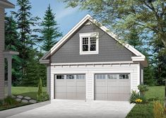 Full technical sheet and illustration of our house plan, garage plan, shed plan or playhouse. Various categories and house plans available for any budget. Garage Plans With Loft, Plan Garage, Loft Plan, Garage Loft, Garage House Plans, Craftsman Style House Plans, Garage Doors, Garage Ideas, Garage Workshop