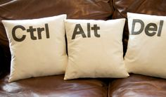 Ctrl - Alt - Del Computer key cushion pillow cover set ivory / black / Grey by GoldenDesignBoutique on Etsy Cushion Covers, Pillow Covers, Cushion Pillow, Bed Pillows, Cushions, Half Man, Black And Grey, Ivory, Strange Images