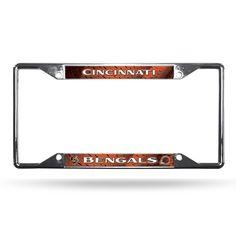 Cincinnati Bengals License Plate Frame Chrome EZ View