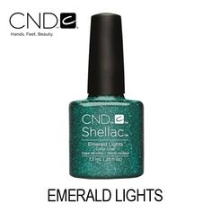 CND Shellac – Emerald Lights (Verde Esmeralda com Glitter) Cnd Shellac, Light Colors, Emerald, Nail Polish, Glitter, Lights, Beauty, Products, Colors