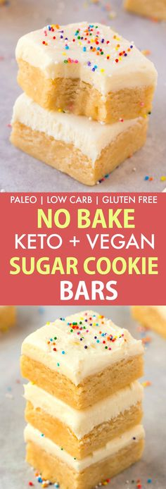 Healthy No Bake Paleo Vegan Sugar Cookie Bars- Perfect for Christmas, Thanksgivi. - Healthy No Bake Paleo Vegan Sugar Cookie Bars- Perfect for Christmas, Thanksgiving and the holidays, this keto and low carb dessert is SO easy and tak. Keto Desserts, Paleo Dessert, Holiday Desserts, Holiday Baking, Easy Desserts, Dessert Recipes, Holiday Treats, Easy Low Carb Dessert, Sugar Free Vegan Desserts