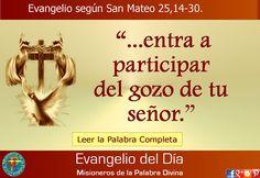 MISIONEROS DE LA PALABRA DIVINA: EVANGELIO - SAN MATEO 25,14-30