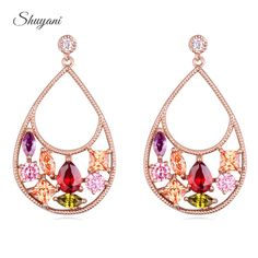 Find More Stud Earrings Information about Shuyani Jewelry 18K Rose Gold Plated Multicolor Cubic Zircon Stud Earrings For Women Brincos Party Wedding Water Earrings,High Quality jewelry castings for sale,China jewelry sapphire earrings Suppliers, Cheap jewelry tweezer from shuyani Official Store on Aliexpress.com