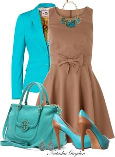 """Caramel and Turquoise"" by natasha-gayden ❤ liked on Polyvore"