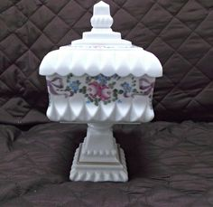 Westmoreland Milk Glass Hand Painted Roses and Bows Wedding Bowl Box