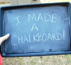 Chalkboard spray paint + dollar store pans = magnetic chalkboards!