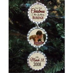 Our First Christmas Ornament 2012 - Bottlecap Ornament - Newlyweds - Wedding - First Christmas Together - Photo Ornament