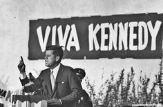 """While campaigning for president, John F. Kennedy repeatedly hammered his theme: to get America """"moving again,"""" 1960.    by Paul Schutzer"""
