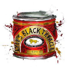 Lyle's Black Treacle, illustration by Georgina Luck. Georgina Luck, Food Artists, Vintage Labels, Vintage Food, Gcse Art, Food Drawing, Watercolor Illustration, Watercolor Food, Food Illustrations