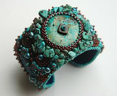 """""""Turquoise Dream"""", a bead embroidery cuff by mixed-media artist Jean Hutter. The photo is from her blog http://jeanhutterbeads.blogspot.com 