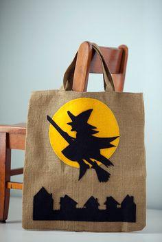 Happy Halloween Burlap Witch Trick or Treat Bag