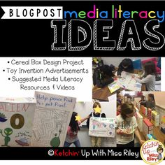 Great ideas for 1st and 2nd grade media literacy units! Cereal Box Design Project, Toy Invention Advertisements and kid written scripts, and links to additional media literacy resources and educational videos.