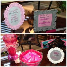 verses in small frames - pink gray girl baby shower