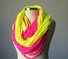Crochet scarf phosphoric Infinity chain scarf by yarnisland, $26.00