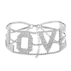 Rhinestone Shniny For Women Big Letter LOVE Chokers Full Crystal Collier Silver Rhinestone, Rhinestone Necklace, Silver Necklaces, Silver Jewelry, Jewelry Necklaces, Prom Jewelry, Crystal Bralette, Accesorios Casual, Necklace Online
