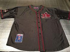Vintage JOHNNY BLAZE Button Down Baseball Shirt Jersey - Black/Silver - Size XXL #JohnnyBlaze #ButtonDownJersey