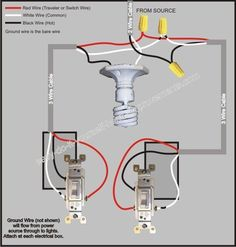 3 Way Switch Wiring Diagram! For more great home improvement tips visit http://www.handymantips.org/category/home-improvement/